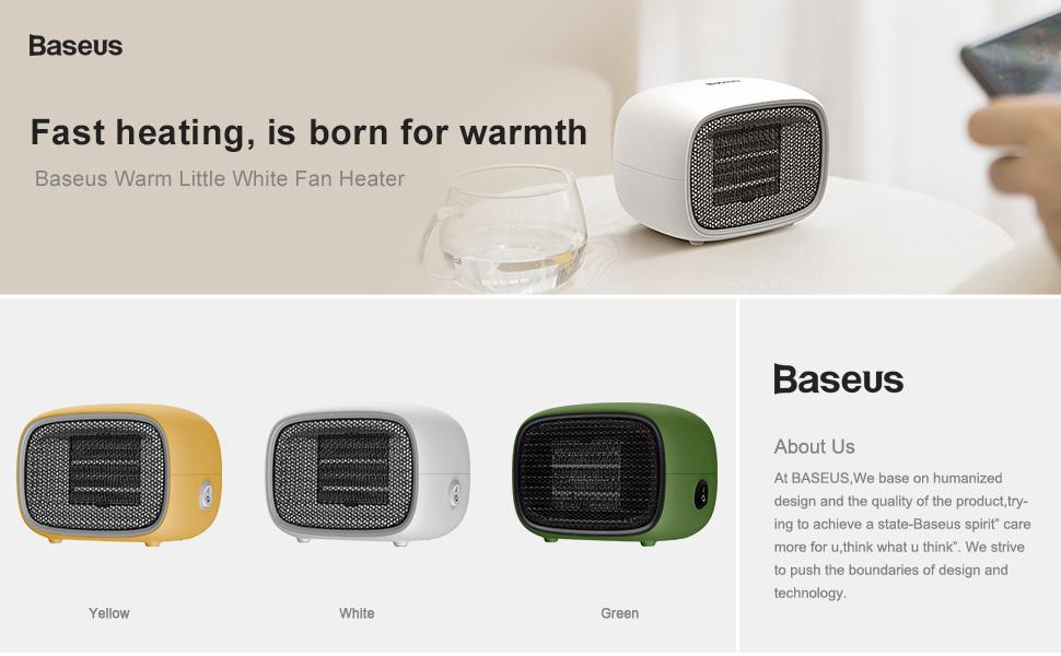Baseus Chaud Petit Blanc Ventilateur Chauffage Pour La Maison et Bureau de réchauffement-Blanc