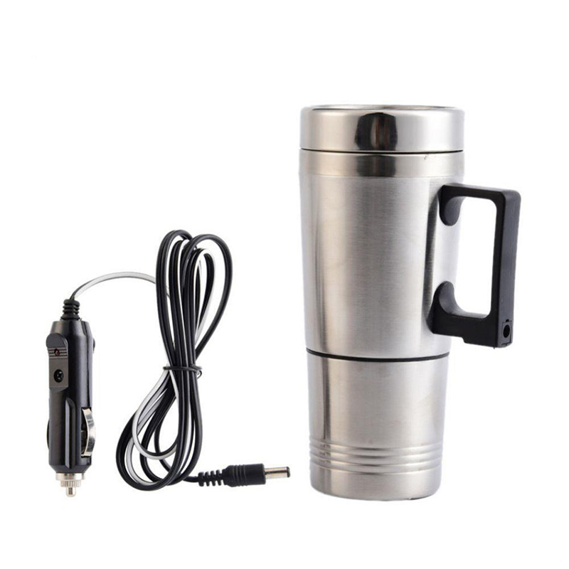 12-24V Stainless Steel Car Auto Heating Cup Kettle 400ml Water Heater Bottle AO